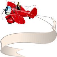 Cartoon retro airplane with banner