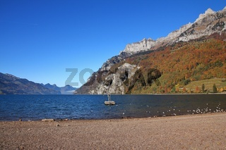 Lake Walensee and mountains of the Churfirsten range seen from Walenstadt, Switzerland.
