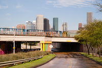 Overpass Tunnel Road Towards Houston Texas Downtown City Skyline