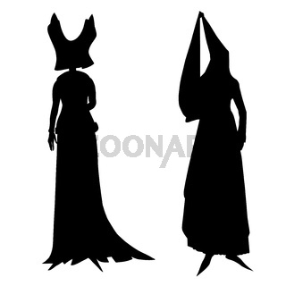 silhouettes of female medieval costumes