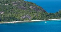 Aerial view of Mahe island coastline, Seychelles