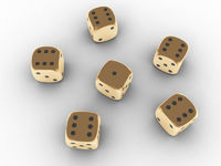 Golden playing dice
