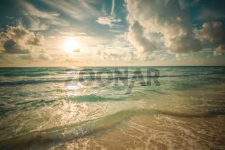beach, sea and deep blue sky