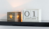 White block calendar present date 1 and month January