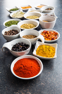 Various dried herbs and spices.