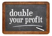 double your profit blackboard sign