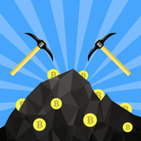 Golden Bitcoin Icon. Crypto Currency Mining with Coins and Pickaxes