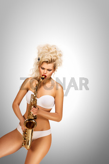 Playing jazz.