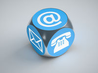 turquoise cube with signs for email phone and letter