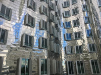 Facade of famous Gehry buildings Dusseldorf