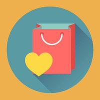 Flat-design shopping bag vector icon