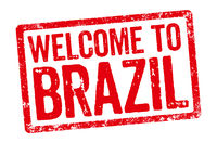 Red stamp on a white background - Welcome to Brazil