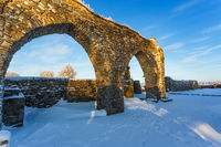 Arches in an old monastery in the winter