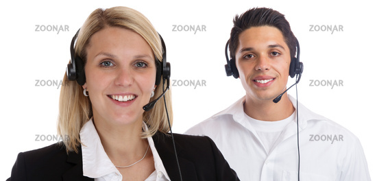 Call Center Agent Team Sekretärin Headset Telefon Business Portrait Freisteller