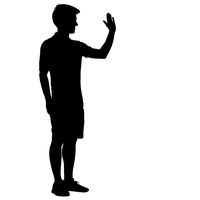 Silhouette of People with a raised hand on White Background