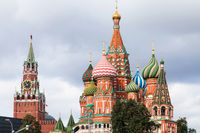 view of Saint Basil Cathedral and Spasskaya Tower