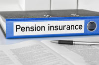 A blue folder with the label Pension insurance
