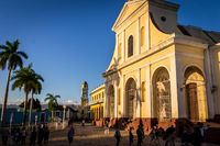 Colonial cathedral and clock tower in Trindad, Cuba