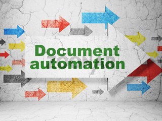 Finance concept: arrow with Document Automation on grunge wall background
