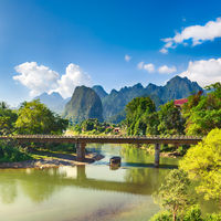 Amazing landscape of river among mountains. Laos.