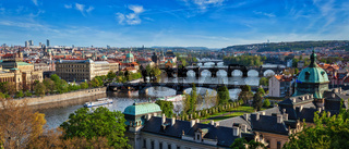 Panoramic view of Prague bridges over Vltava river from Letni P