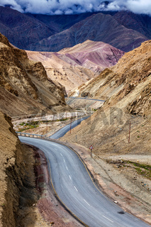 Srinagar Leh national highway NH-1 in Himalayas. Ladakh, India