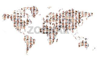 Viele Business Geschäftsleute auf Weltkarte