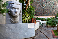 Havana, Cuba - December 12, 2016: Wolfgang Amadeus Mozart Statue in a Beautiful courtyard with artworks in  Old Havana, Cuba