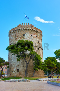 The White tower and city square in Thessaloniki