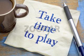 take time to play reminder on napkin