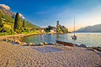 Town of Malcesine castle and beach view