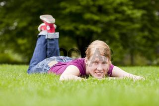Zufrieden im Park
