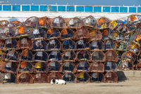 Stack of crab traps is Essaouira port