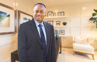 Handsome African American Businessman Inside His Home Office.