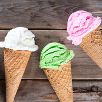Different color ice cream cone