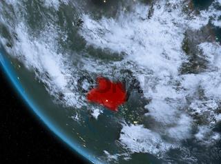Night view of Uganda on Earth