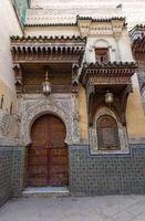 Old door and window in Fes, Morocco