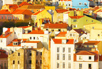 Lisbon Old Town architecture. background