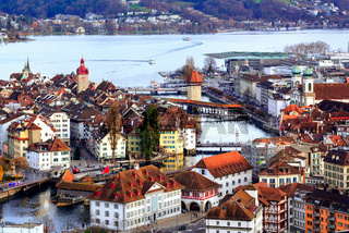 Old town of Lucerne with Chapel Bridge and Water tower, Switzerland