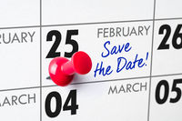 Wall calendar with a red pin - February 25
