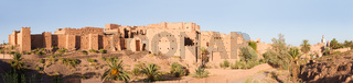 Panorama of magnificent kasbah or old traditional arab fortress in the city of Ouarzazate, Morocco.