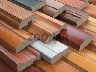 Samples of wooden furniture MDF profiles, Different medium density fiberboards.