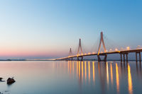 cable-stayed bridge in nightfall