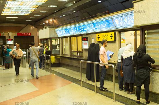 People buy ticket metro Tehran
