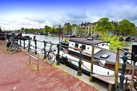 Houseboat and Bicycles in Amsterdam