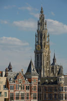 View of a cathedral of our lady in Antwerp Belgium.