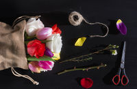 Flower bouquet and florist tools