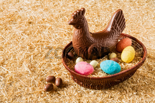 Easter chocolate chicken and eggs