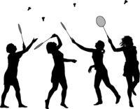 Black set silhouette of female badminton player on white background
