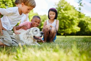 Tierliebe Kinder streicheln einen Hund